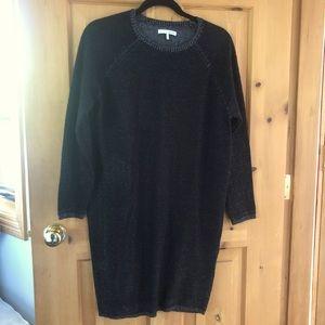 Oak + Fort Relaxed Midi Sweater Dress Black, Small